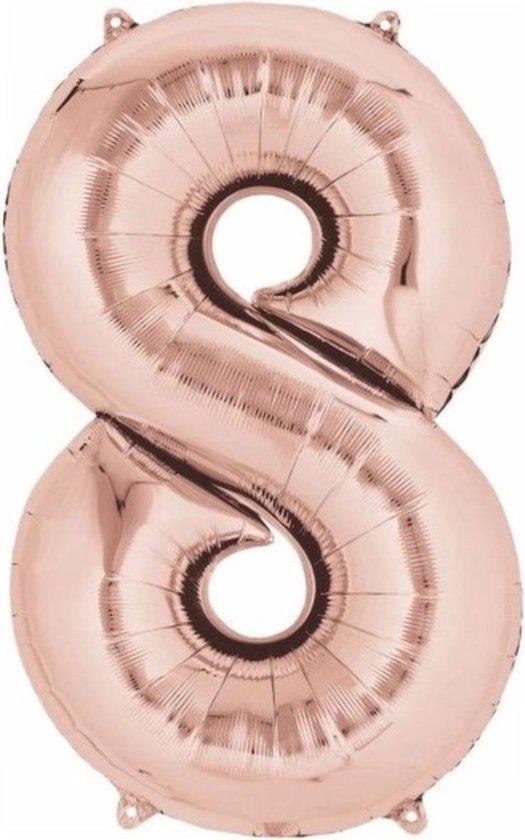 Ballon Cijfer 8 Jaar Roségoud 70Cm Verjaardag Feestversiering Met Rietje