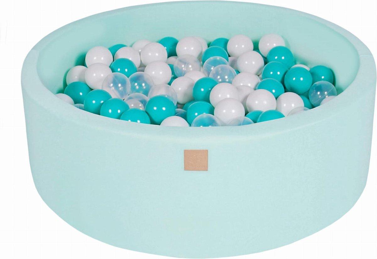 Ronde Ballenbak set incl 200 ballen 90x30cm - Mint: Turquoise, Transparant, Wit