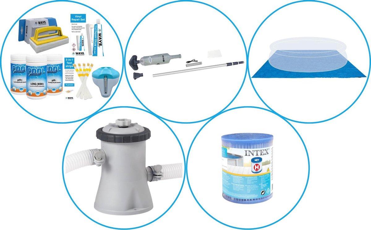 Zwembad Accessoirepakket 4-delig - WAYS Onderhoudspakket & Filterpomp (28602GS) + Filter & Zwembad stofzuiger & Grondzeil