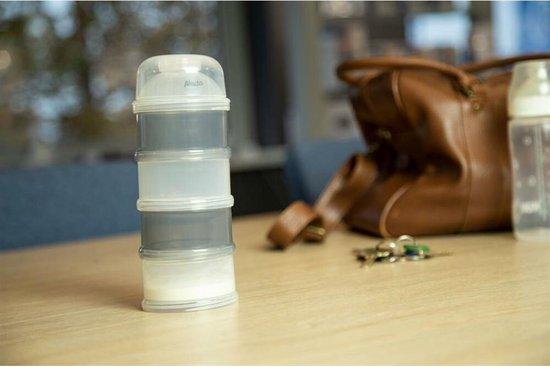 NUK 80601183 Melkpoeder doseerdoos - 4 stapelbare compartimenten voor bewaren poeder - Grijs