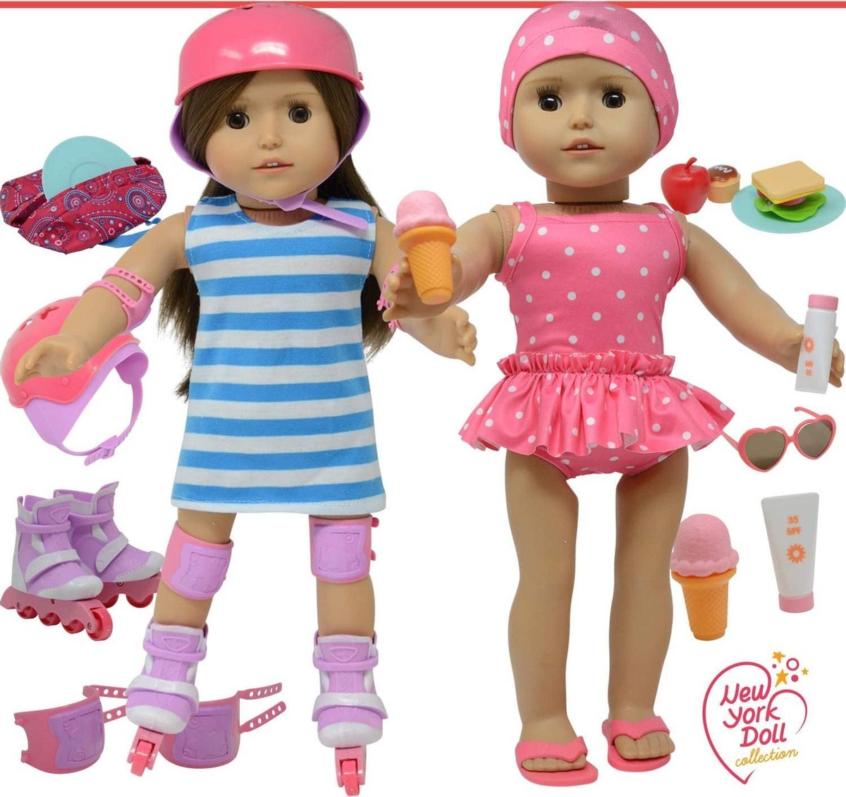Doll 3 in 1 Summer Set - Roller Skates, Bathing Suit & Picnic Set - 3in1 Zomer 46cm Pop Set