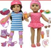 Doll 3 in 1 Summer Set - Roller Skates, Bathing Suit & Picnic Set - 3in1 Zomer 46cm Pop Set