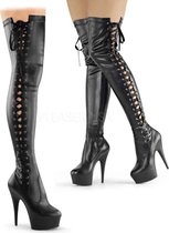 Pleaser Overknee Laarzen -36 Shoes- DELIGHT-3050 US 6 Zwart
