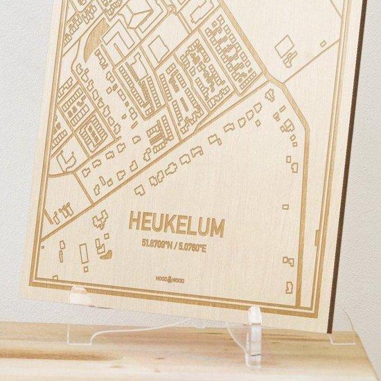 Kaart Heukelum -  Gegraveerde stadskaart Hood&Wood - Hout, A4