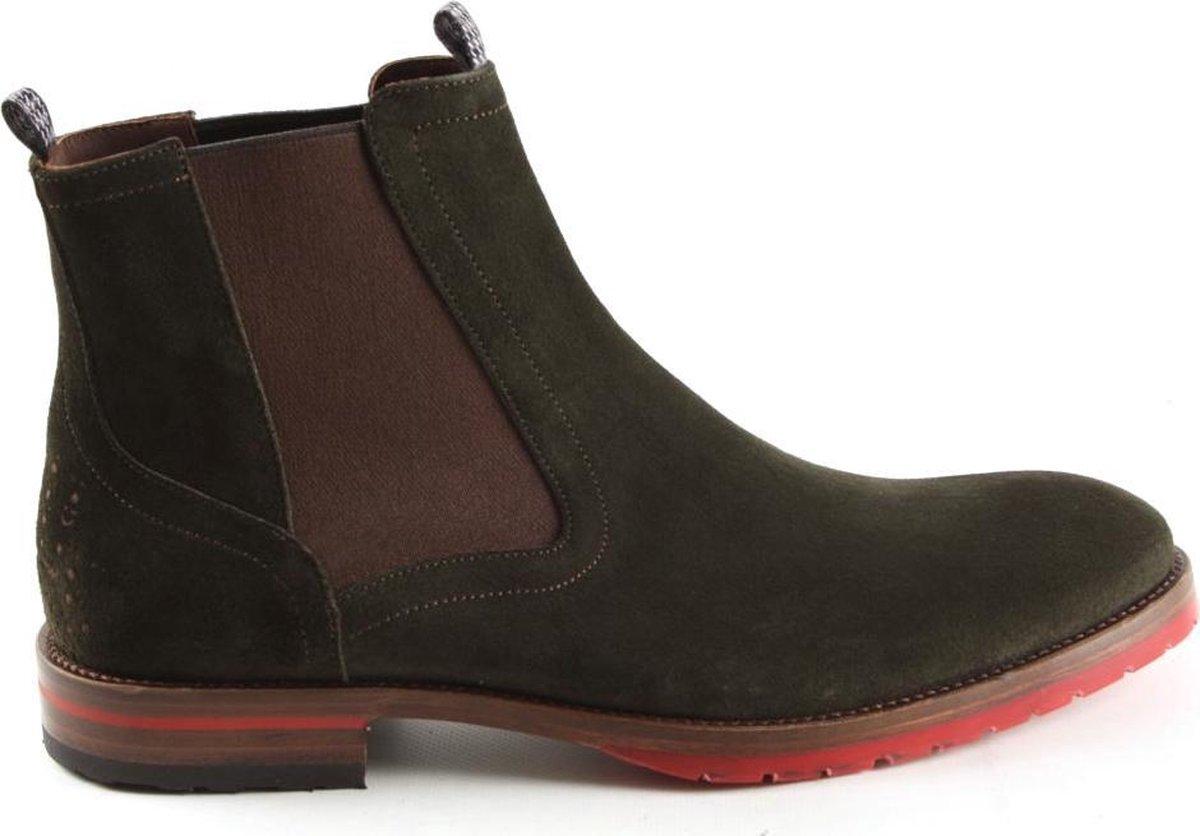 Floris Van Bommel Heren Chelsea Boots 10976 Groen Maat 43