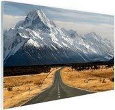 Weg naar de bergen Glas 30x20 cm - klein - Foto print op Glas (Plexiglas wanddecoratie)