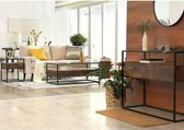 Luxe Retro Vintage Glazen Salontafel Met Opbergruimte - Industriele Lage Bank Tafel Met Glasplaat & 2 Lades - Metalen Frame - Hout