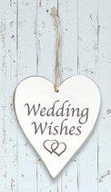 "Houten hart ""Wedding Wishes"""