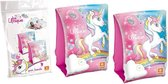 Roze/blauwe zwembandjes met eenhoorn/unicorn print 3-6 jaar - Zwemvleugels/zwemmouwtjes 18-30 kg - Zwem armbanden - Veilig zwemmen