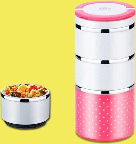 Draagbare roestvrij staal Dots patroon drie lagen geïsoleerde ronde kinderen volwassen Lunch Boxes  willekeurige kleur levering