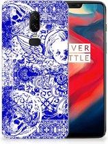 Silicone Back Case OnePlus 6 Angel Skull Blue