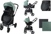 Xadventure Combi Kinderwagen Inspire - Jeans Groen - 8-delig - Inclusief autostoel