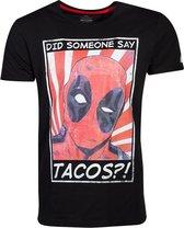 Marvel Deadpool Heren Tshirt -L- Tacos Zwart