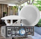 Weerbestendige 5 speakerset + versterker en kabel voor muziek op terras of veranda