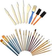 Artina penselenset - 30 penselen in set - Punt Penseel, Waaierpenseel, Platte Penselen