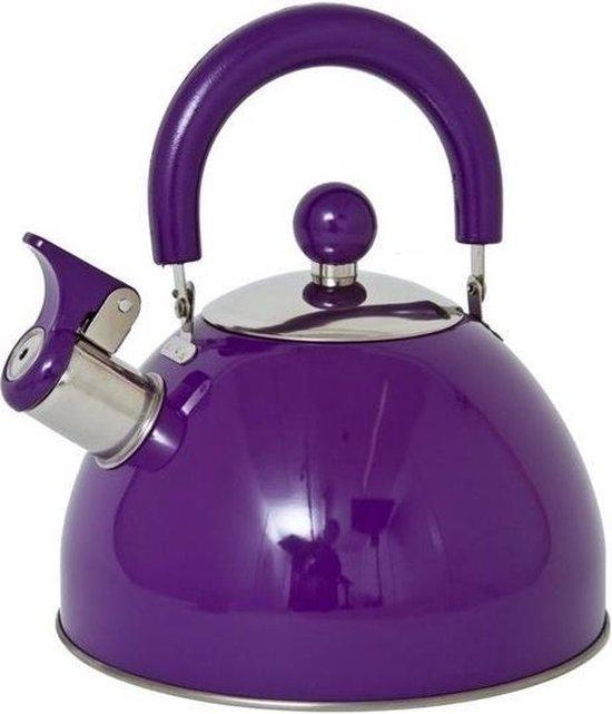 | Paarse fluitketelwaterkoker RVS 2,5 liter