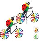 relaxdays 2 x windmolen - fiets - windspel - tuinsteker - tuin - kinderen decoratie