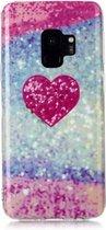 Let op type!! Voor Galaxy S9 gekleurde tekening patroon IMD vakmanschap zachte TPU beschermhoes (rood hart)
