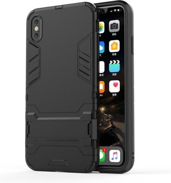 Let op type!! PC + TPU Shockproof Protective Case with Holder For iPhone XS Max (Black)