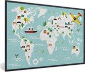 Wereldkaart - Kinderen - Vliegtuig - Natuur - Schoolplaat - Kinderkamer - 60x40 cm