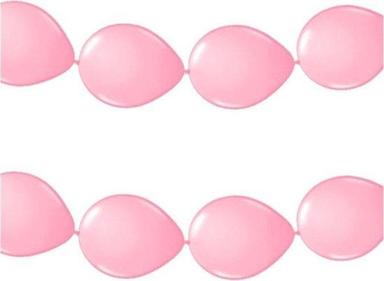 2x stuks feestversiering - Ballonnen slinger lichtroze 3 meter - roze versiering/feestartikelen