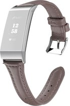 By Qubix - Fitbit Charge 3 & 4 Slim Fit Leather bandje - Grijsbruin - Fitbit charge bandjes