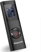 LifeGoods Laser Afstandsmeter - USB Oplaadbaar incl. Kabel - 40 Meter Bereik - 2mm Nauwkeurig - Digitaal Meetapparaat voor Lengte (m) / Oppervlakte (m2) / Volume (m3) - Binnen en Buiten - Stof- en Spatwaterdicht - Zwart
