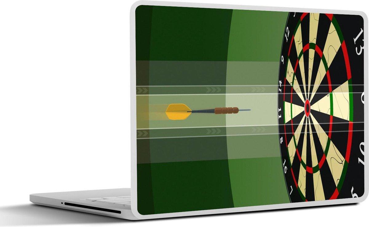 Laptop sticker - 13.3 inch - een dartpijl richting het midden van het dartbord