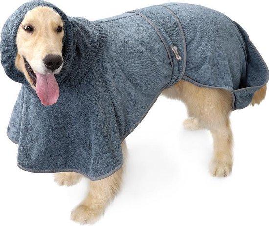 Super absorberende Honden Badjas grijs Maat XL - Hondenbadjas - Hondenhanddoek