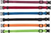 Trixie Puppy Halsband 17-25cm set paars-rood-blauw-zwart-oranje-appeltjesgroen 6st