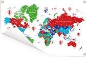 Kleurrijke wereldkaart op een witte achtergrond Tuinposter 120x80 cm