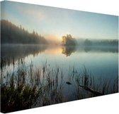 Zonsopkomst bij het meer Canvas 120x80 cm - Foto print op Canvas schilderij (Wanddecoratie woonkamer / slaapkamer)