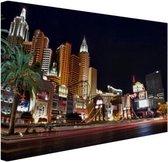 De strip van Las Vegas Canvas 120x80 cm - Foto print op Canvas schilderij (Wanddecoratie woonkamer / slaapkamer) / Steden Canvas Schilderijen