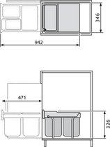 Hailo Tandem-Rb Inbouw Prullenbak - 36 l