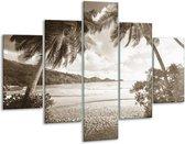 Glas schilderij Zee, Strand | Sepia | 100x70cm 5Luik | Foto print op Glas |  F006473