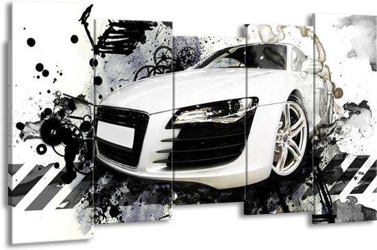 Canvas schilderij Audi   Wit, Zwart, Grijs   150x80cm 5Luik