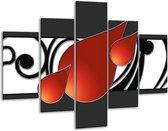Glasschilderij Art   Rood, Zwart, Wit   100x70cm 5Luik   Foto print op Glas    F005707