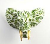 Pomme Pidou Aniwalls dierenkop olifant Jim - Wit met groene bladeren