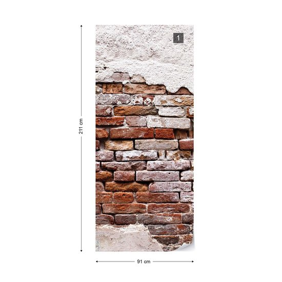 Fotobehang Grunge Brick Wall | VET - 211cm x 91cm | 130gr/m2 Vlies