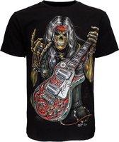 Skull Rock Guitar Metal T-Shirt Zwart