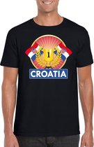 Zwart Kroatisch kampioen t-shirt heren - Kroatie supporter shirt L