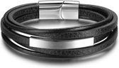 Victorious Vier Stroken Zwart Leer en Roestvrijstaal Leather Collections – Mannenarmband – 22cm
