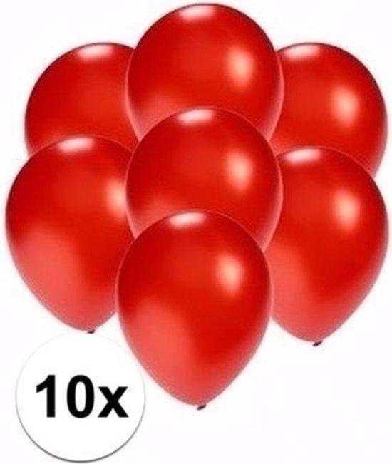 Kleine metallic rode ballonnen 10x stuks - Feestartikelen/versiering