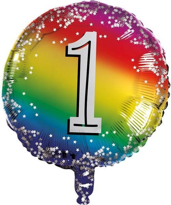 Boland Cijferballon 1 Rond Folie 45 Cm
