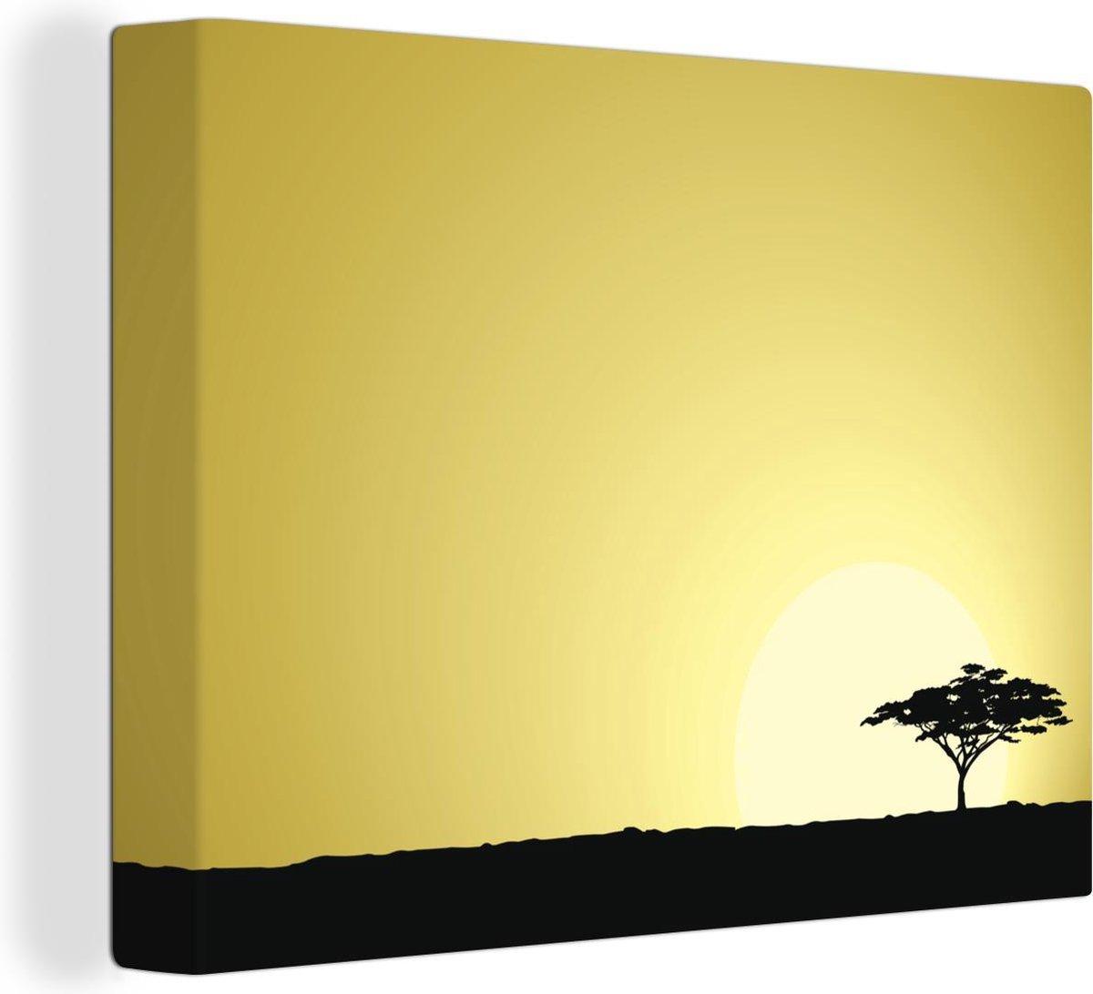 Canvas Schilderijen - een Afrikaanse Safari als achtergrond - 160x120 cm - Wanddecoratie XXL /