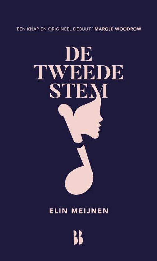 Cover van De tweede stem geschreven door Elin Meijnen. De cover heeft een donker blauwe achtergrond en op de voorgrond staat een muzieknoot waarin een gezicht is verwerkt.
