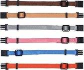 Trixie Puppy Halsband 17-25cm set fuchsia-legergroen-roze-donkergrijs-donkerblauw/turquoise 6st