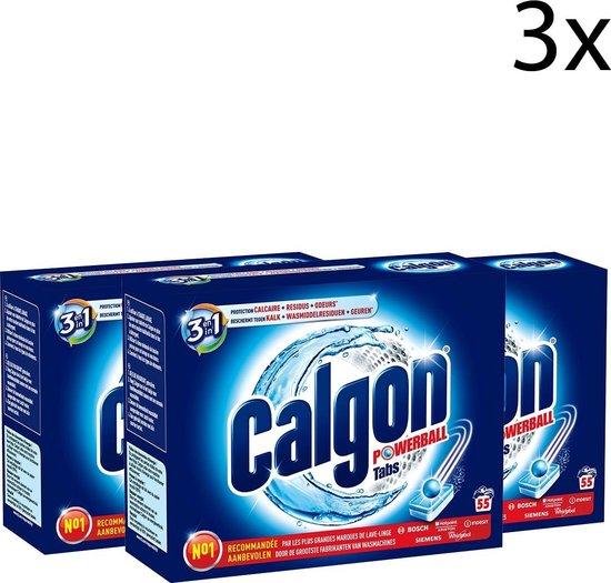 Calgon 3 in 1 Powerball Tabs Wasmachine Reiniger en Anti kalk - 3x 55 Tabletten - 165 Tabletten