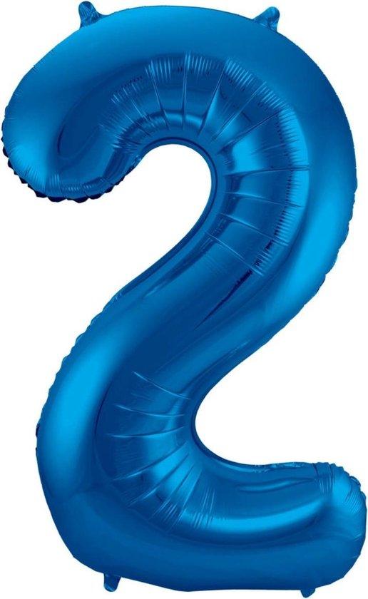 Ballon Cijfer 2 Jaar Blauw 36Cm Verjaardag Feestversiering Met Rietje