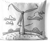 Buitenkussens - Tuin - Een illustratie van een handgetekende windmolen - 40x40 cm